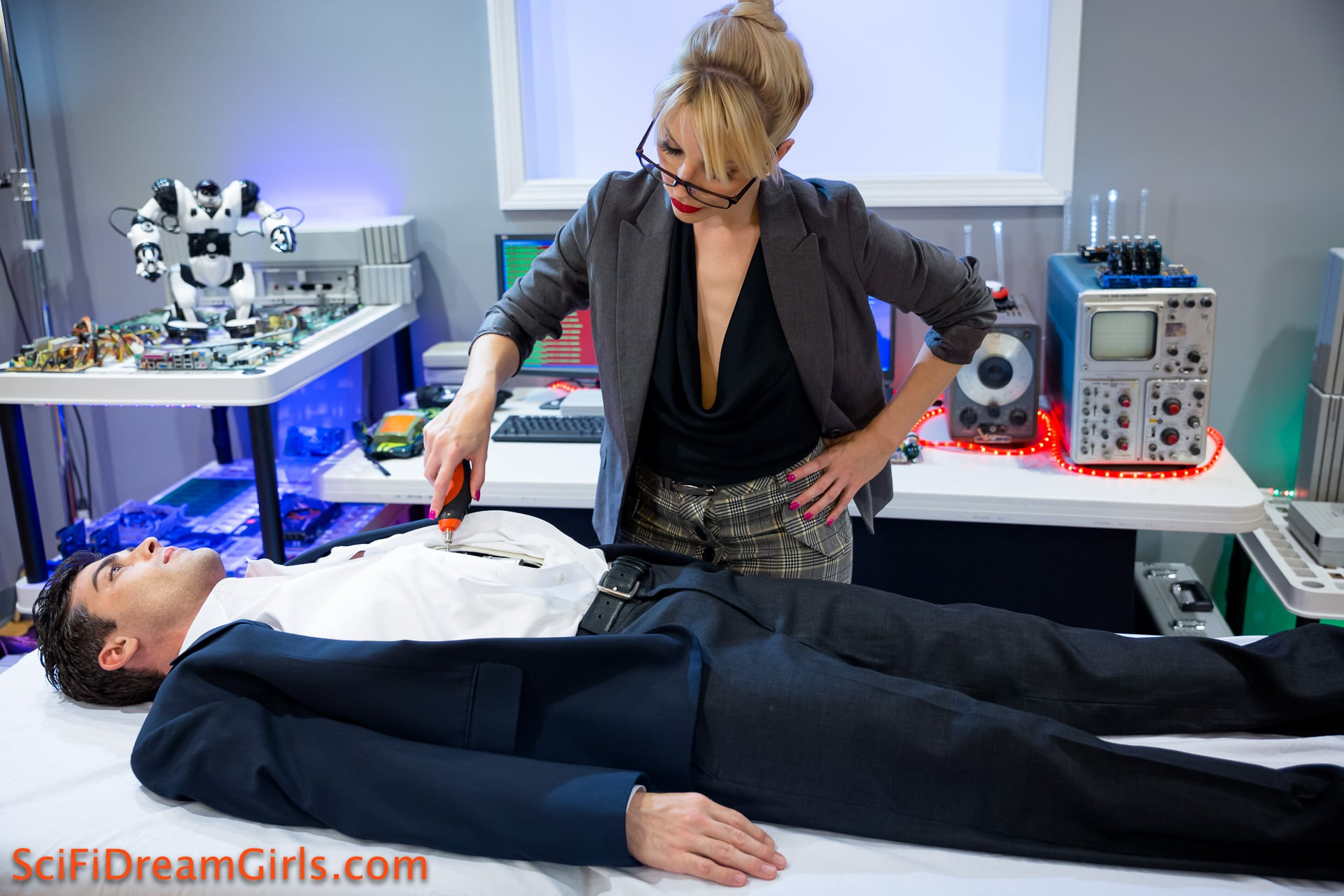 Dr. Ashley Fires creates the perfect man. A Male Robot for her sexual pleasure.