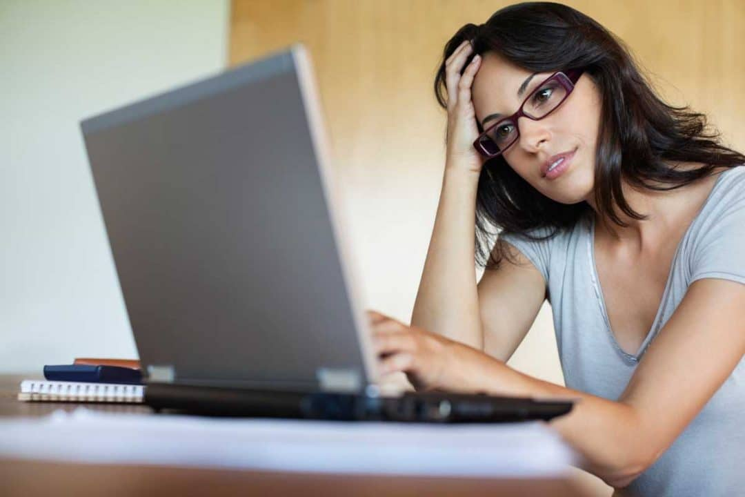 woman on computer dating