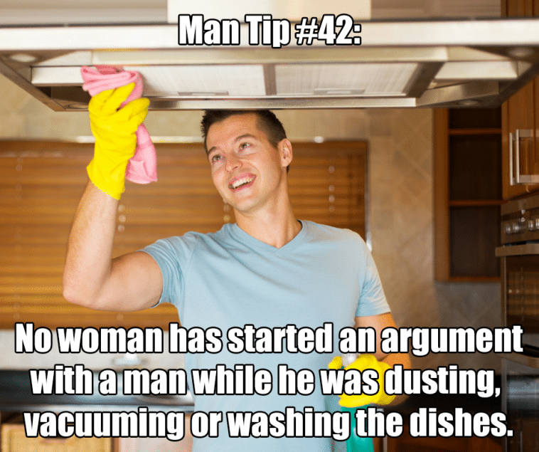 man doing housework dishes