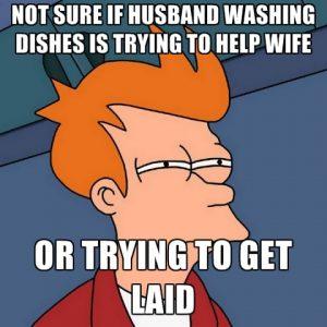man washing dishes meme