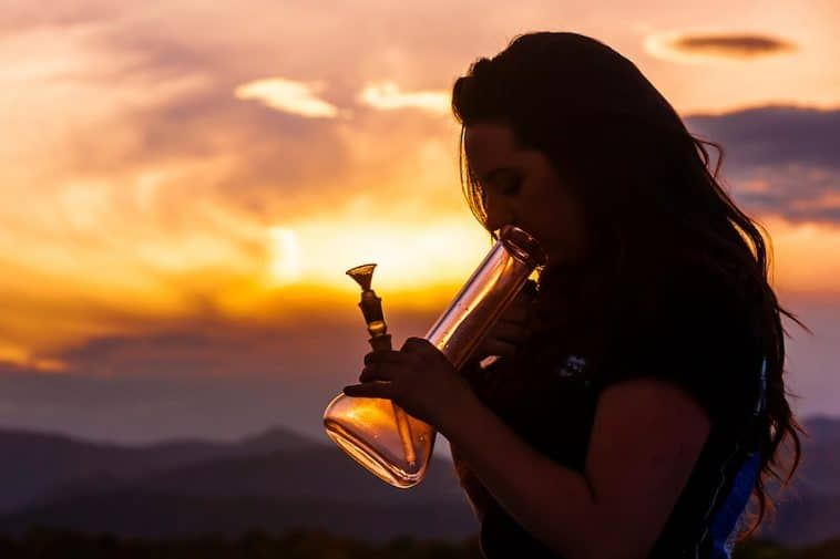 woman smoking bong